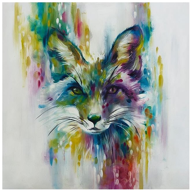 Fox - Chase (Hand Embellished Canvas)