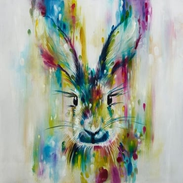 Escape - Hare (Hand Embellished Canvas)